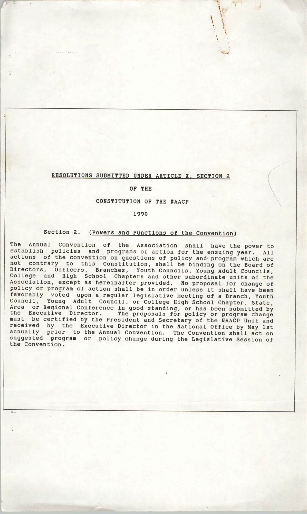 Resolutions Submitted Under Article X, Section 2 of the Constitution of the NAACP, 1990
