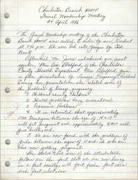 Minutes, Charleston Branch of the NAACP, General Membership Meeting, April 24, 1986