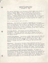 Minutes, Charleston Branch of the NAACP, Regular Branch Meeting, October 27, 1988
