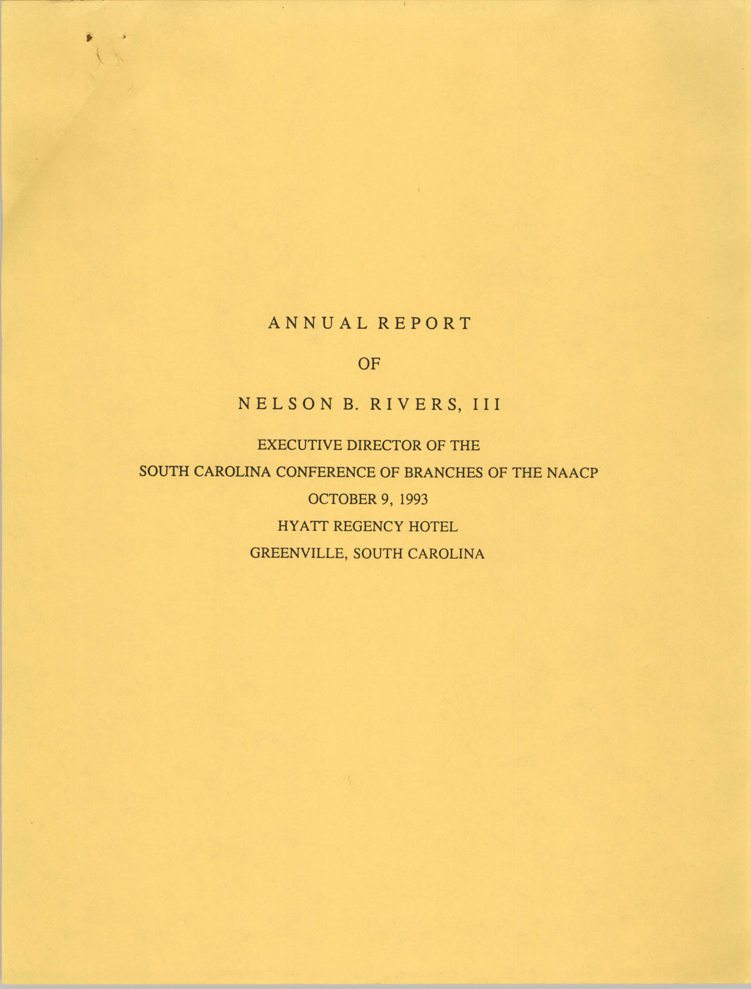 South Carolina Conference of Branches of the NAACP, Annual Report, October 9, 1993