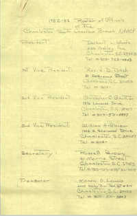 1982-83 Roster of Officials of the Charleston, South Carolina Branch of the NAACP