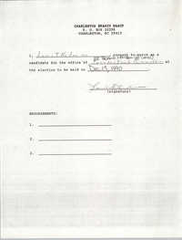 Charleston Branch NAACP Election Consent Forms, December 13, 1990
