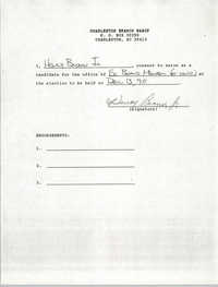 Charleston Branch NAACP Election Consent Forms, Henry Brown, Jr.
