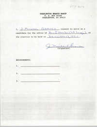 Charleston Branch NAACP Election Consent Forms, J. Michael Graves