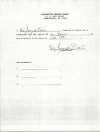 Charleston Branch NAACP Election Consent Forms, Jerry M. Devoe