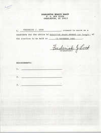 Charleston Branch NAACP Election Consent Forms, Frederick J. Cook