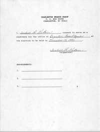 Charleston Branch NAACP Election Consent Forms, Isabelle L. DuBose