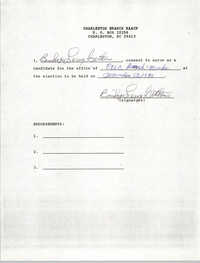 Charleston Branch NAACP Election Consent Forms, Bishop Leroy Gethers