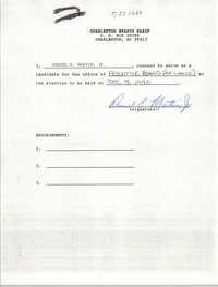 Charleston Branch NAACP Election Consent Forms, Daniel E. Martin, Jr.
