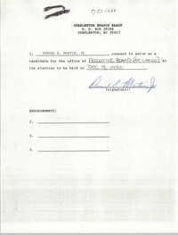 Charleston Branch NAACP Election Consent Forms, Daniel E. Martin, Jr.