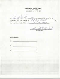 Charleston Branch NAACP Election Consent Forms, Harold R. Carrillo