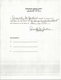 Charleston Branch NAACP Election Consent Forms, Dorothy M. Jenkins