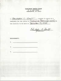 Charleston Branch NAACP Election Consent Forms, Christopher C. Gantt