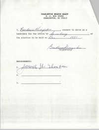 Charleston Branch NAACP Election Consent Forms, Barbara Kingston
