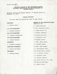 Official Ballots of the Charleston Branch of the NAACP, December 13, 1990