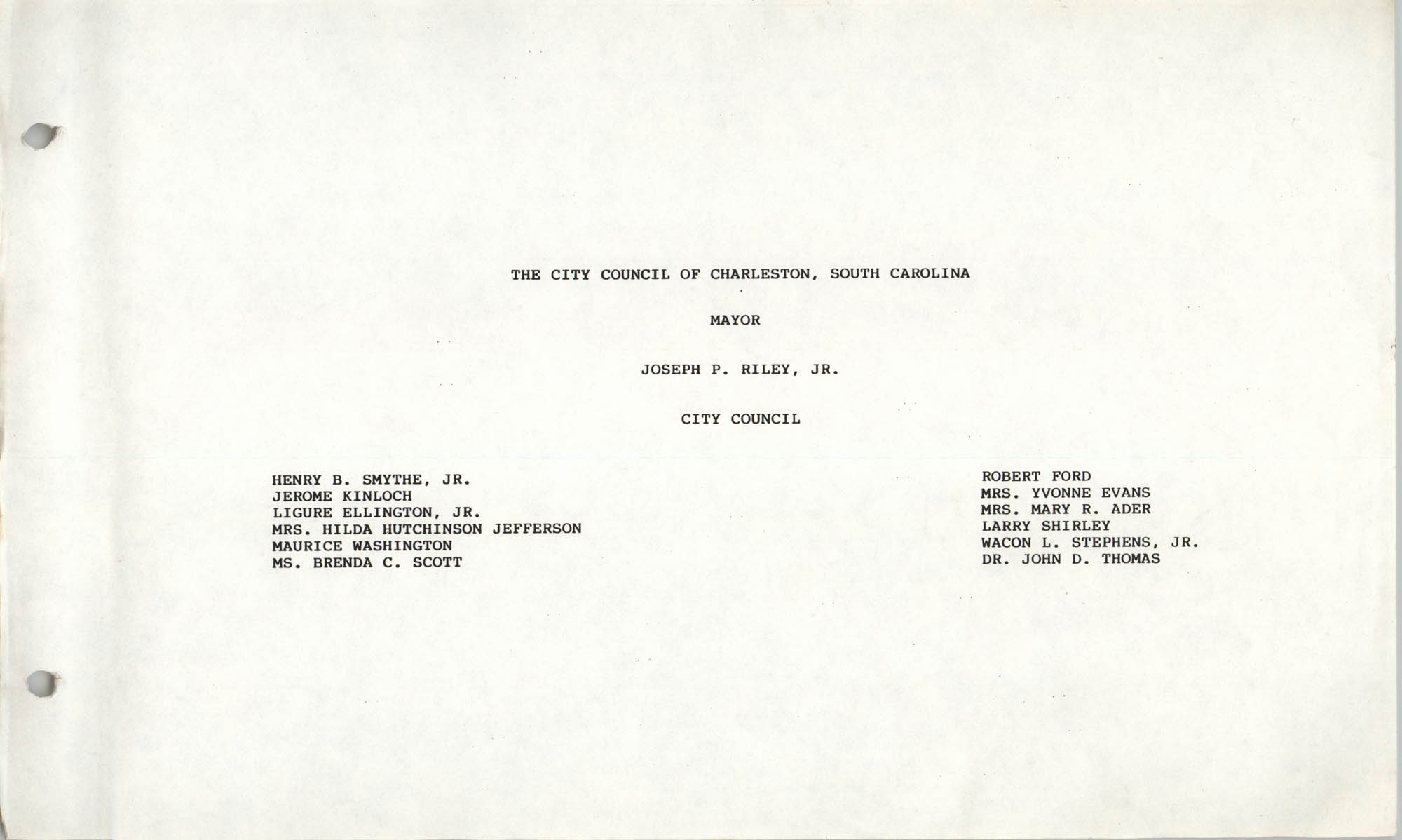 The City Council of Charleston, South Carolina, 1993 Budget