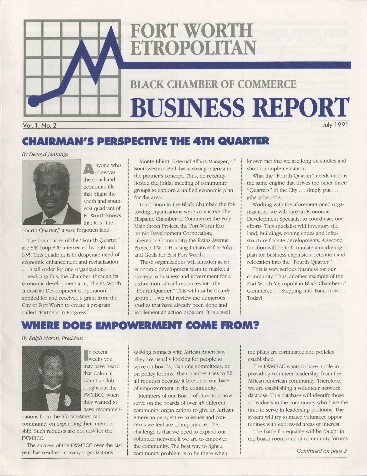 Fort Worth Metropolitan, Black Chamber of Commerce Business Report, July 1991