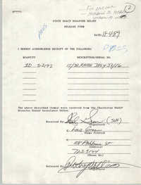 State NAACP Disaster Relief, Hurricane Huge Release Form, 1989