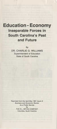 Education-Economy, Inseparable Forces in South Carolina's Past and Future
