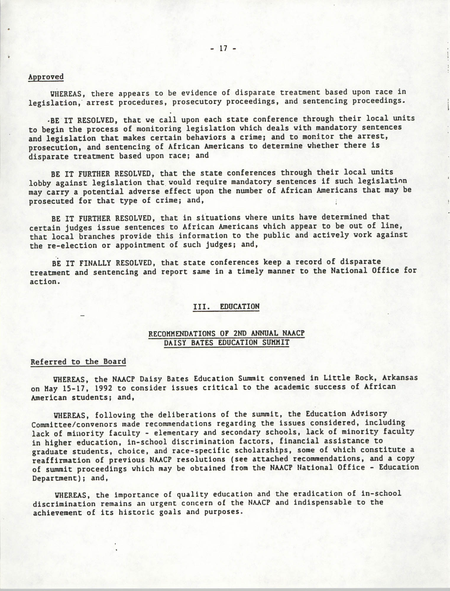 Education Resolutions 1993
