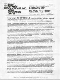 Selected Shows Available from the Library of Black History, December 1990