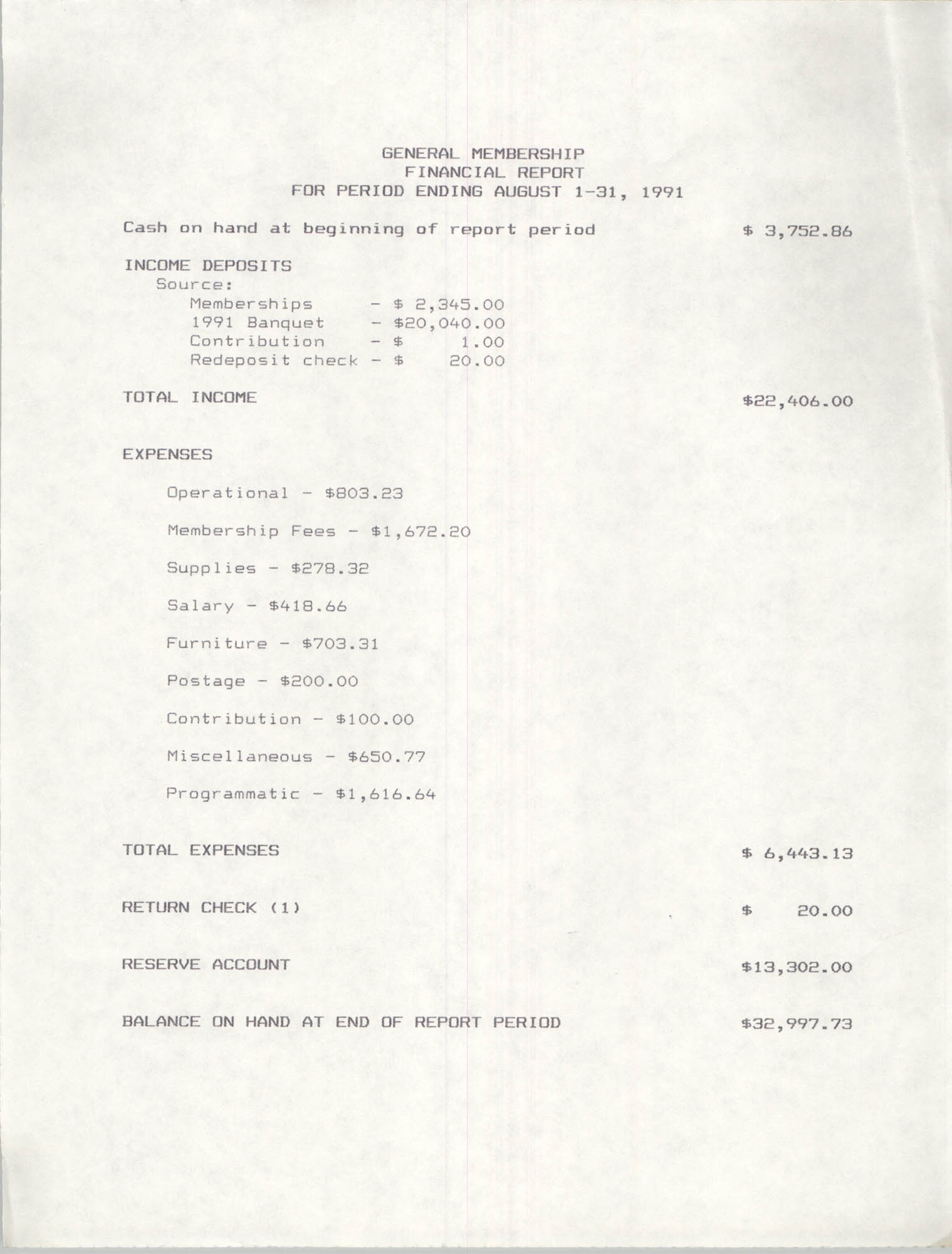 Charleston Branch of the NAACP Financial Report, August 1991