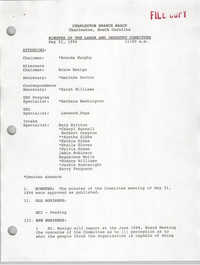 Charleston Branch of the NAACP Labor and Industry Committee Minutes, May 21, 1994