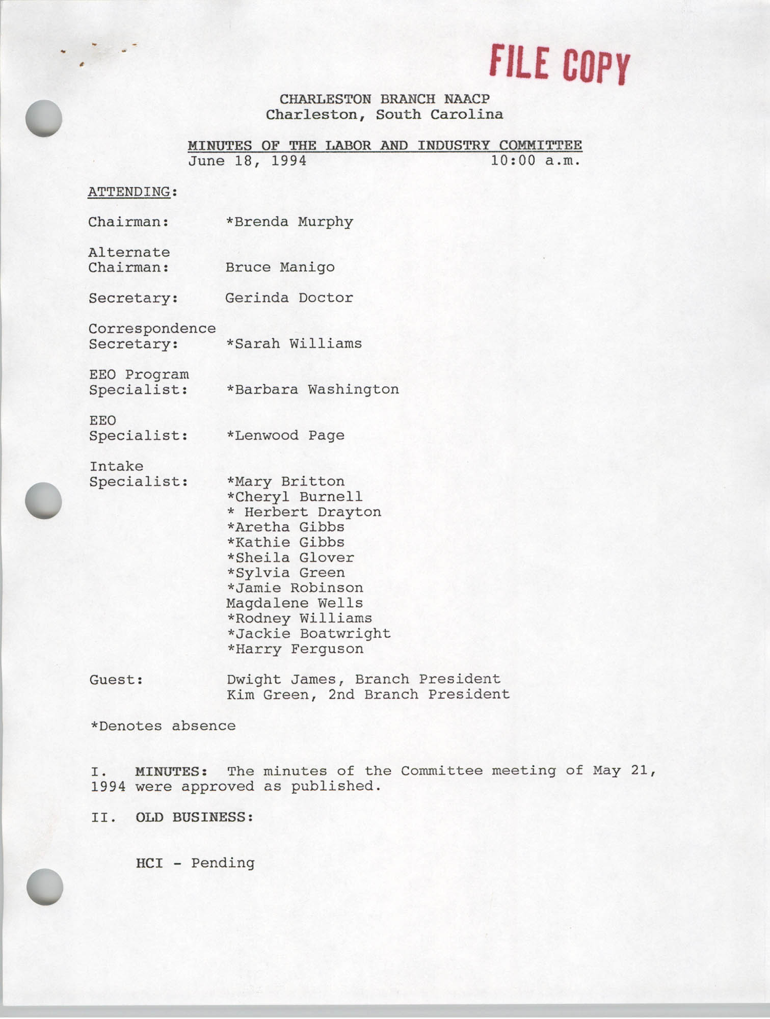Charleston Branch of the NAACP Labor and Industry Committee Minutes, June 18, 1994