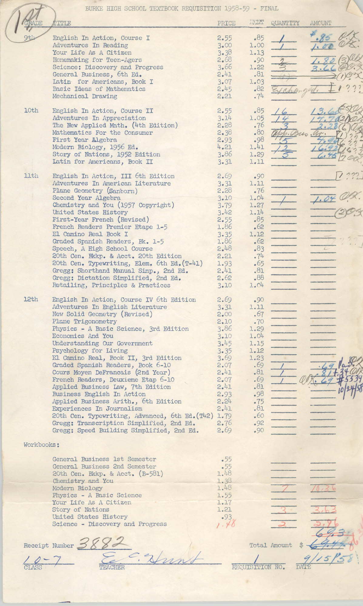 Burke High School Textbook Requisition 1958-59