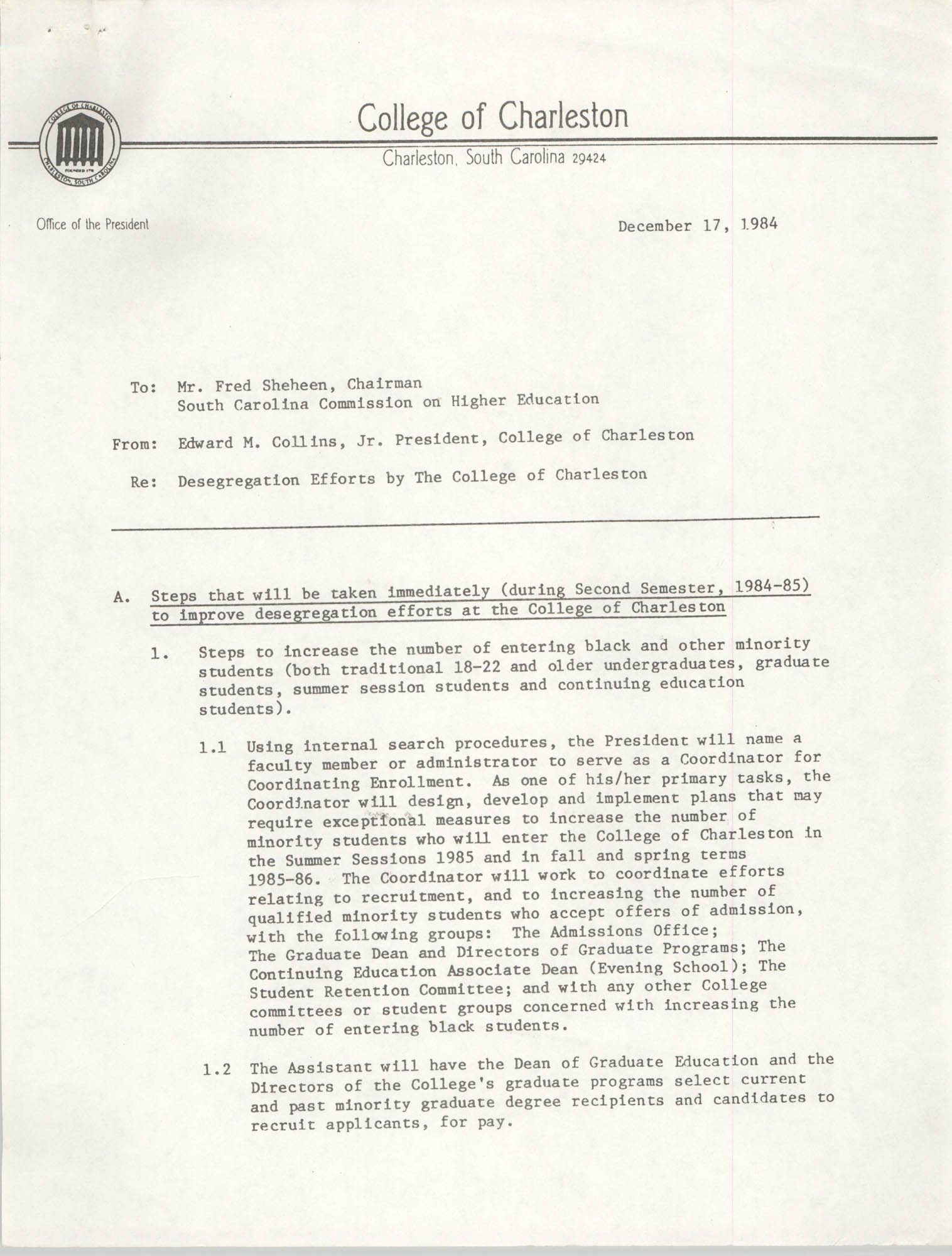 College of Charleston Memorandum, December 17, 1984