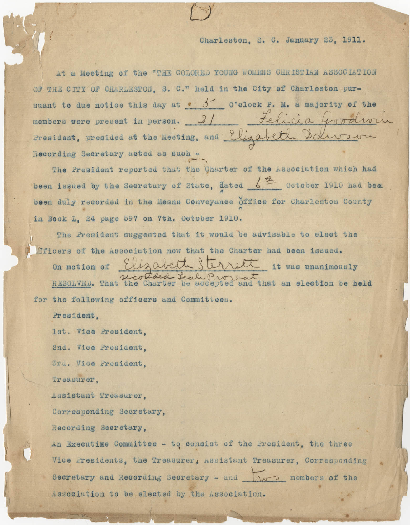Minutes to the Coming Street Y.W.C.A. Meeting, January 23, 1911