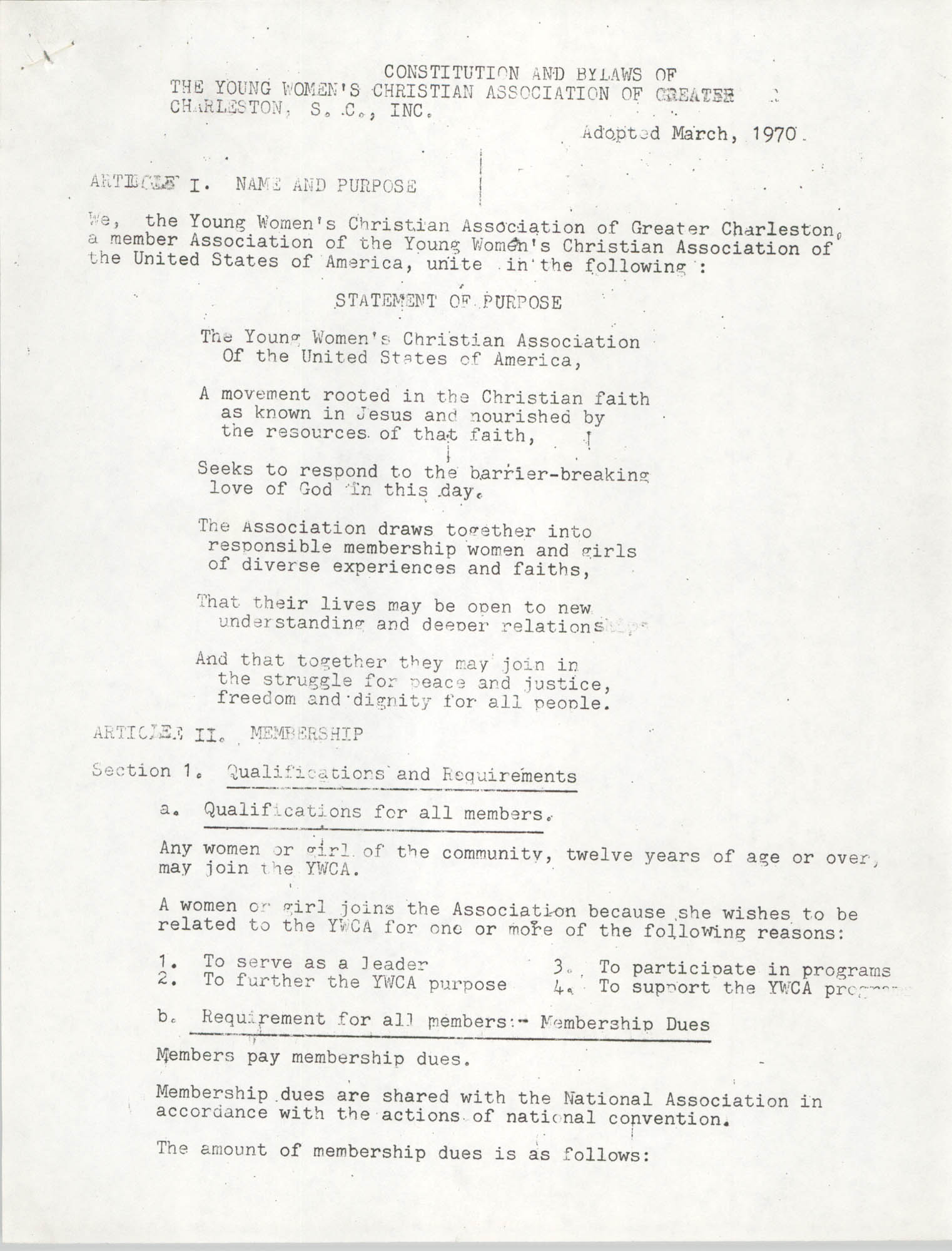 Constitution and By-Laws of the Young Women's Christian Association of Greater Charleston, Inc., Adopted March, 1970