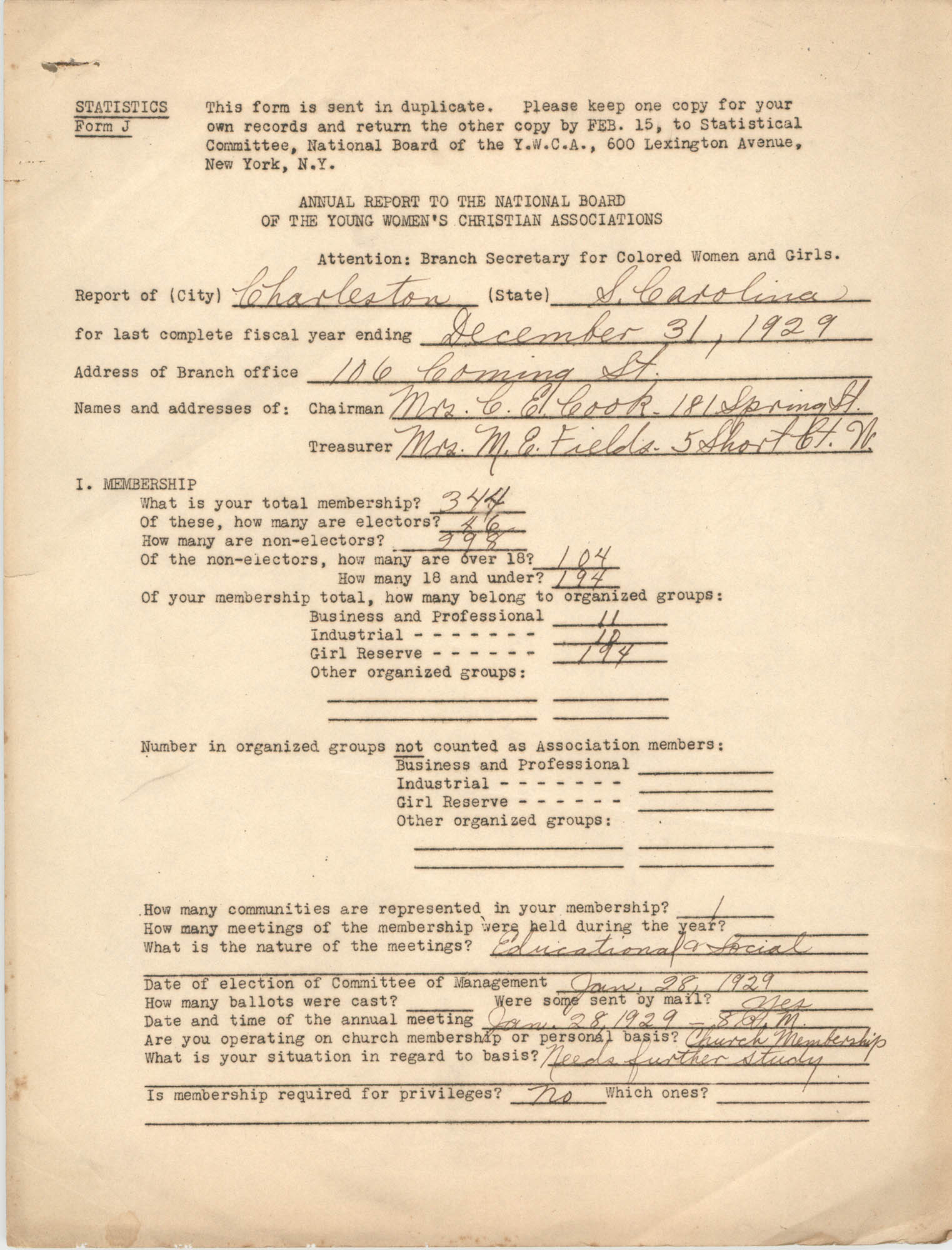 Annual Report to the National Board of the Young Women's Christian Associations, December 31, 1931