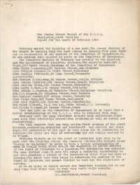 Monthly Report for the Coming Street Y.W.C.A., February 1940