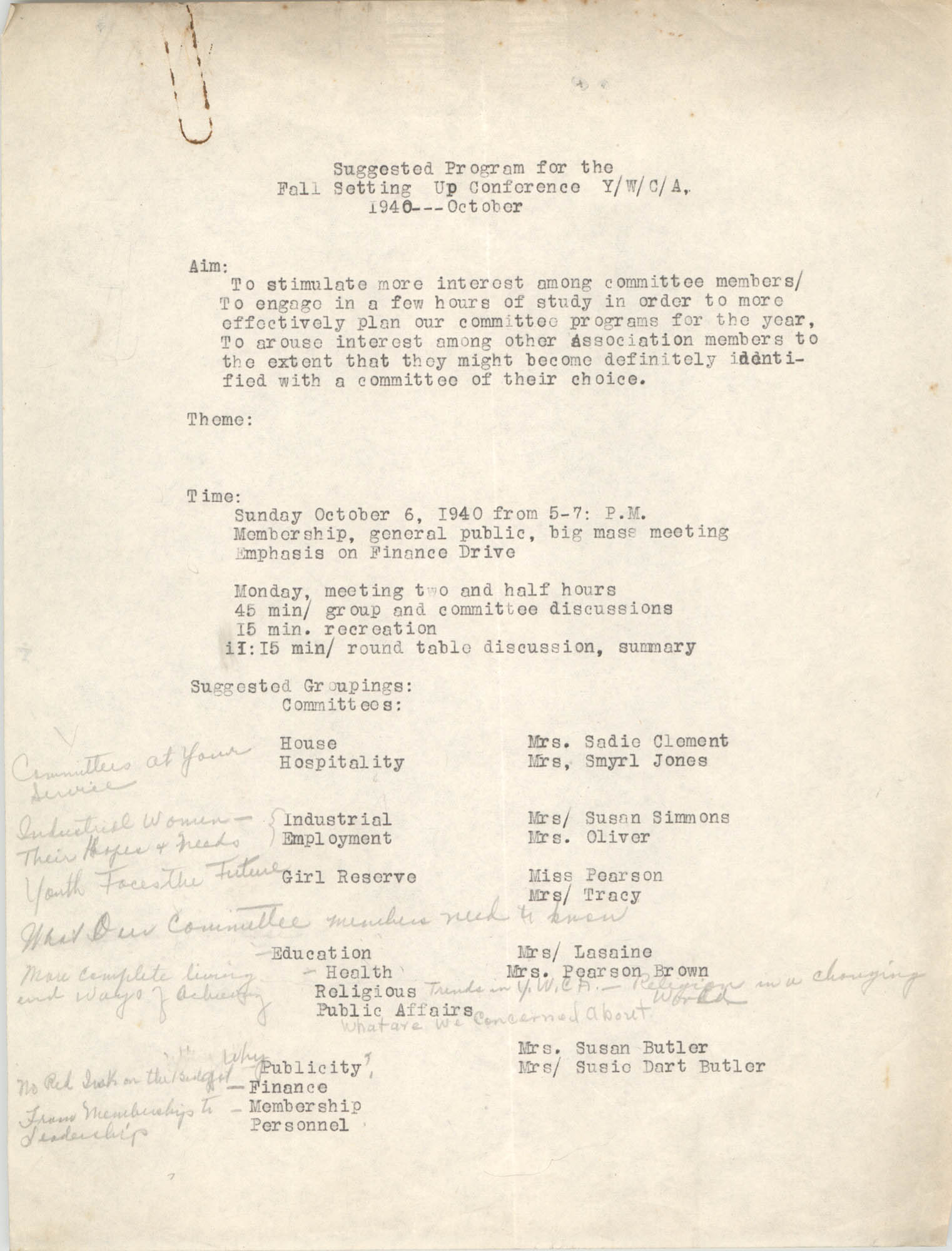 Monthly Report for the Coming Street Y.W.C.A., October 1940