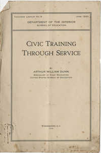 Civic Training Through Service, Department of the Interior, Bureau of Education, June 1920