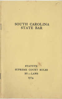South Carolina State Bar, Statute Supreme Court Rules, By-Laws, 1974