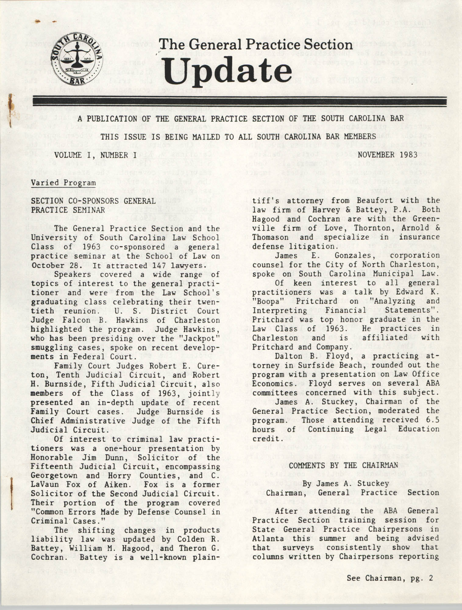 The General Practice Section Update, Vol. 1 No. 1, South Carolina Bar, November 1983