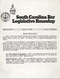 South Carolina Bar Legislative Roundup, Vol. 6 No. 1, January 26, 1984