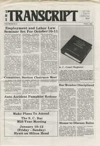The Transcript of the South Carolina Bar, Vol. 29 No. 8, August 1985