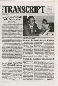 The Transcript of the South Carolina Bar, Vol. 29 No. 9, September 1985
