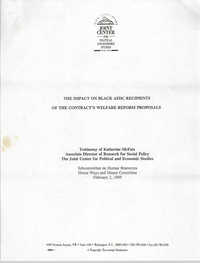 The Impact on Black AFDC Recipients of the Contract's Welfare Reform Proposals