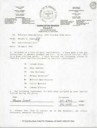 Charleston Branch of the NAACP Memorandum, April 28, 1992