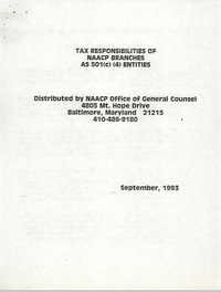 Tax Responsibilities of NAACP Branches as 501(c) (4) Entities