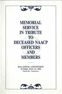 Memorial Service in Tribute to Deceased NAACP Officers and Member, July 12, 1992