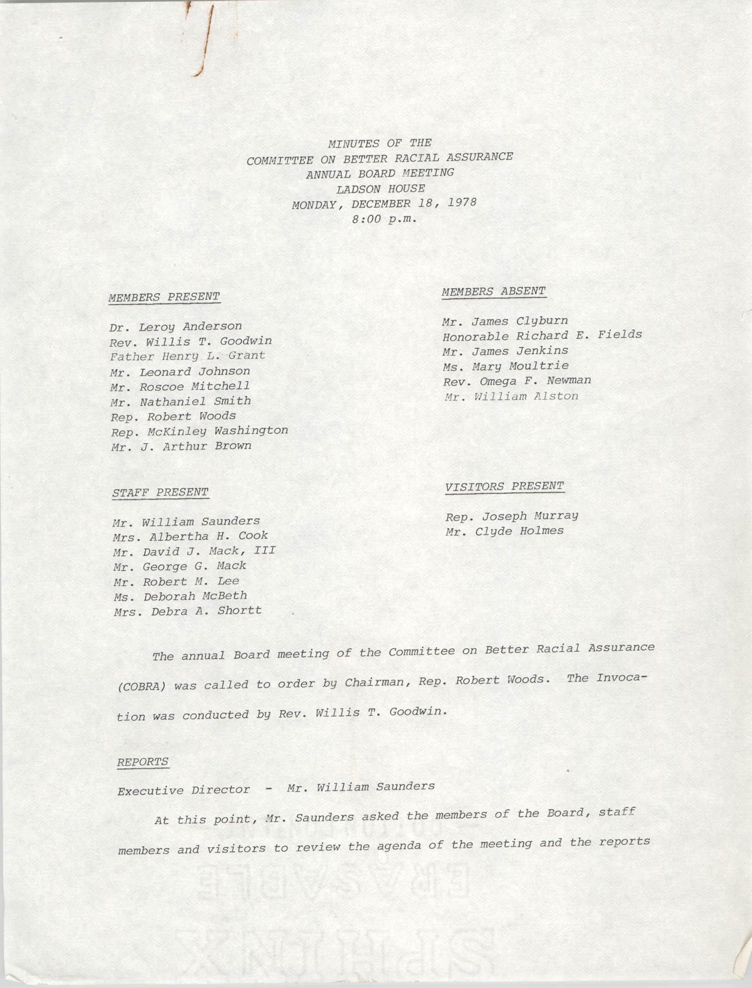 COBRA Annual Board Meeting Minutes, December 18, 1978