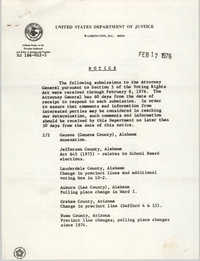 United States Department of Justice Notice, February 17, 1976