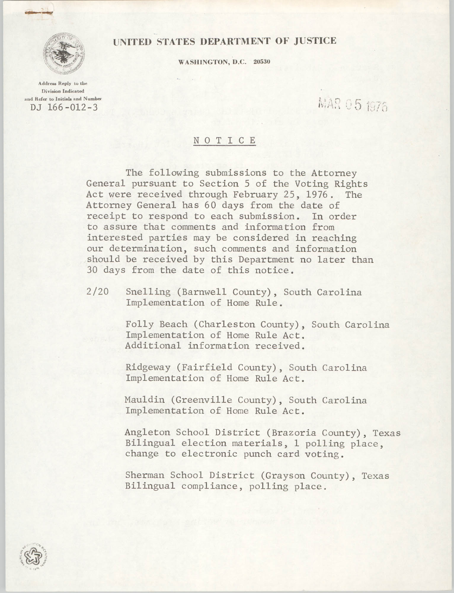 United States Department of Justice Notice, March 5, 1976