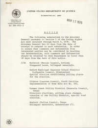 United States Department of Justice Notice, March 12, 1976