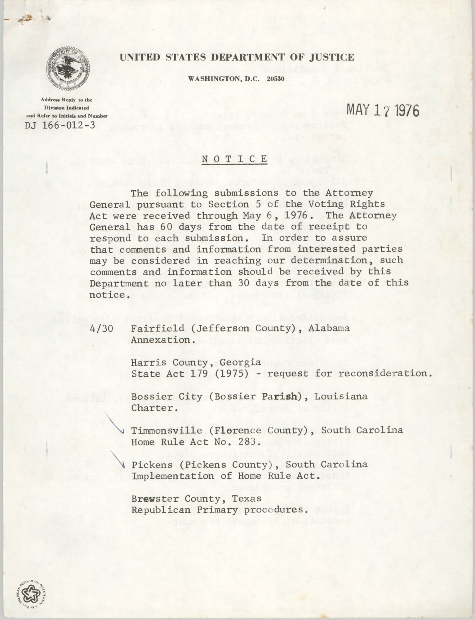 United States Department of Justice Notice, May 17, 1976